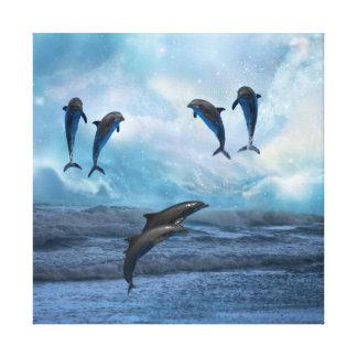 Dolphins fantasy canvas print