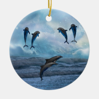 Dolphins fantasy christmas tree Double-Sided ceramic round christmas ornament