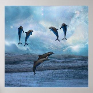 Dolphins fantasy print