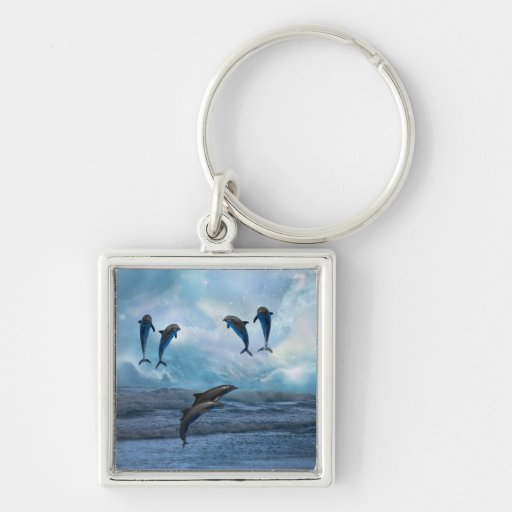Dolphins fantasy Silver-Colored square keychain