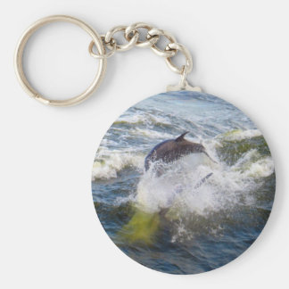 Dolphins Followings Boat Basic Round Button Keychain