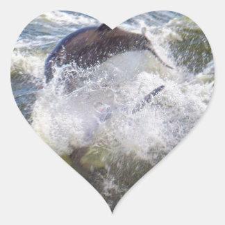 Dolphins Followings Boat Heart Sticker
