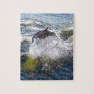 Dolphins Followings Boat Jigsaw Puzzle