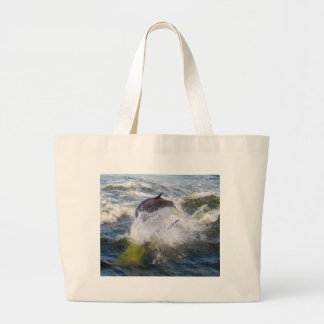 Dolphins Followings Boat Large Tote Bag