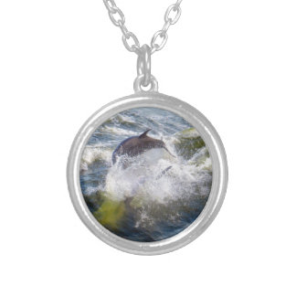 Dolphins Followings Boat Round Pendant Necklace