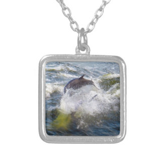 Dolphins Followings Boat Square Pendant Necklace