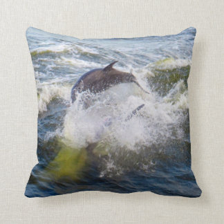Dolphins Followings Boat Throw Pillow