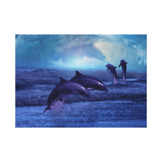 Dolphins fun and play stretched canvas print