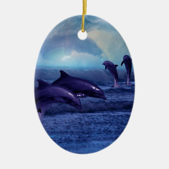 Dolphins fun and play ceramic ornament