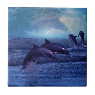 Dolphins fun and play ceramic tile