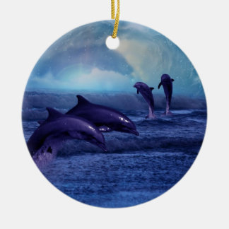 Dolphins fun and play christmas tree Double-Sided ceramic round christmas ornament