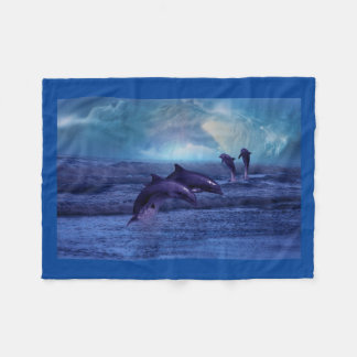 Dolphins fun and play fleece blanket