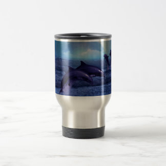 Dolphins fun and play 15 oz stainless steel travel mug