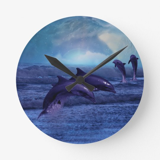 Dolphins fun and play round clock