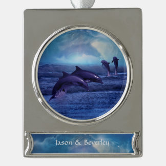 Dolphins fun and play silver plated banner ornament