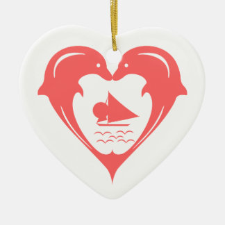Dolphins Heart Custom Background  Ornament