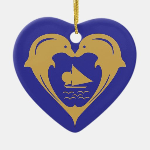 Dolphins Heart Ornament