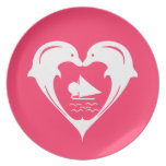 Dolphins Heart Plate