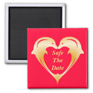 Dolphins heart safe the date custom Magnet