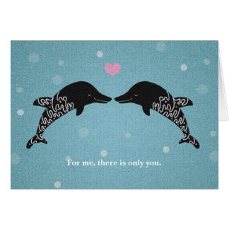 Dolphins I love you Valentine's Day Card Heart art