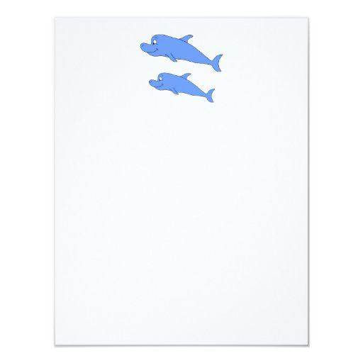 Dolphins in blue. 4.25x5.5 paper invitation card