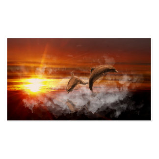 Dolphins In Clouds at Sunset Collage Business Card Templates
