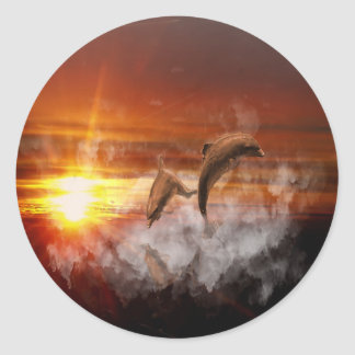 Dolphins In Clouds at Sunset Collage Classic Round Sticker