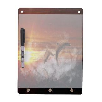 Dolphins In Clouds at Sunset Collage Dry-Erase Board