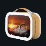 """Dolphins In Clouds at Sunset Collage Lunch Box<br><div class=""""desc"""">Original digital collage.  Two dolphins frolicking in the clouds at sunset</div>"""