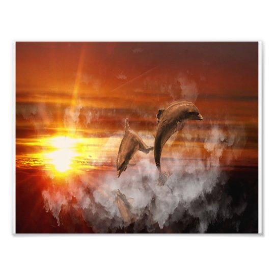 Dolphins In Clouds at Sunset Collage Photo Print