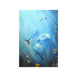 Dolphins In Deep Blue Sea Oil Painting on Canvas