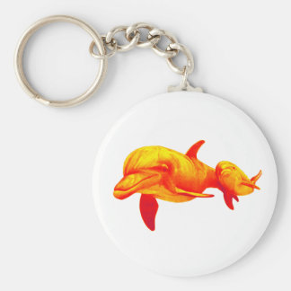 DOLPHINS IN PARADISE BASIC ROUND BUTTON KEYCHAIN