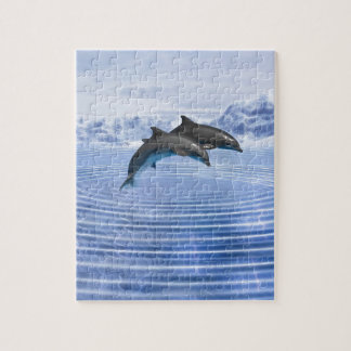Dolphins in the clear blue sea jigsaw puzzle