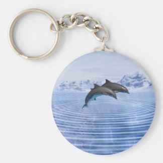 Dolphins in the clear blue sea keychain