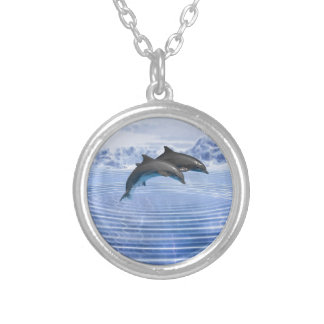 Dolphins in the clear blue sea silver plated necklace