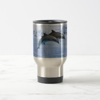 Dolphins in the clear blue sea travel mug