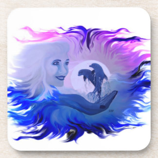 Dolphins in the Moonlight Beverage Coaster