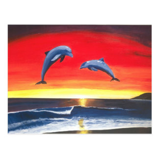 Dolphins in the ocean Masters of the Sea Postcard