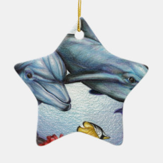 Dolphins in the Reef by Derrick Rathgeber Ceramic Ornament