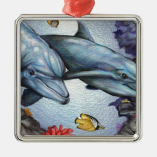 Dolphins in the Reef by Derrick Rathgeber Metal Ornament
