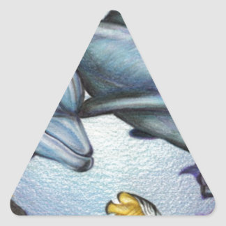 Dolphins in the Reef by Derrick Rathgeber Triangle Sticker