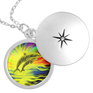 Dolphins in the sunshine locket necklace