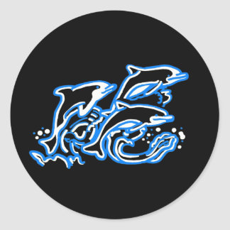 Dolphins in the Waves Classic Round Sticker