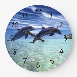 Dolphins in the wild large clock