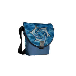 Dolphins in Water Messenger Bag