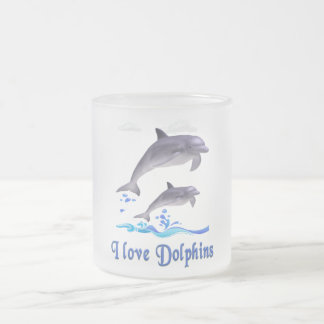 Dolphins items frosted glass coffee mug