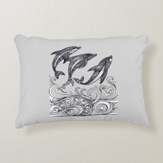 Dolphins Jumping Accent Pillow