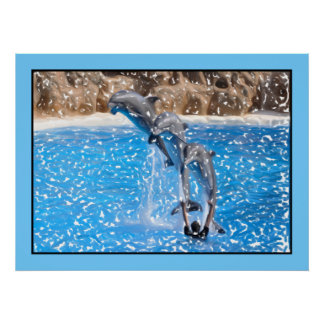 Dolphins jumping, clear blue water print
