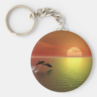 dolphins jumping ocean sunset keychain