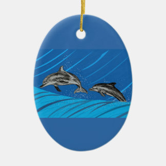 Dolphins Jumping out of the Sea Ceramic Ornament